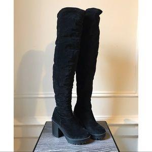 H&M Black Velvet Over the Knee Boots